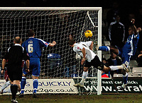 Photo: Daniel Hambury.<br />Luton Town v Cardiff City. Coca Cola Championship. 14/02/2006.<br />Luton's Rowen Vine scores to make it 1-0.
