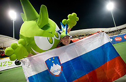 Slovenian fan with mascot Trigi at the 8th day qualification game of 2010 FIFA WORLD CUP SOUTH AFRICA in Group 3 between Slovenia and Czech Republic at Stadion Ljudski vrt, on March 28, 2008, in Maribor, Slovenia. Slovenia vs Czech Republic 0 : 0. (Photo by Vid Ponikvar / Sportida)