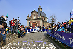 Fans wait for the race to arrive on the Muur Kapelmuur Geraardsbergen during the 2019 Ronde Van Vlaanderen 270km from Antwerp to Oudenaarde, Belgium. 7th April 2019.<br /> Picture: Eoin Clarke | Cyclefile<br /> <br /> All photos usage must carry mandatory copyright credit (© Cyclefile | Eoin Clarke)