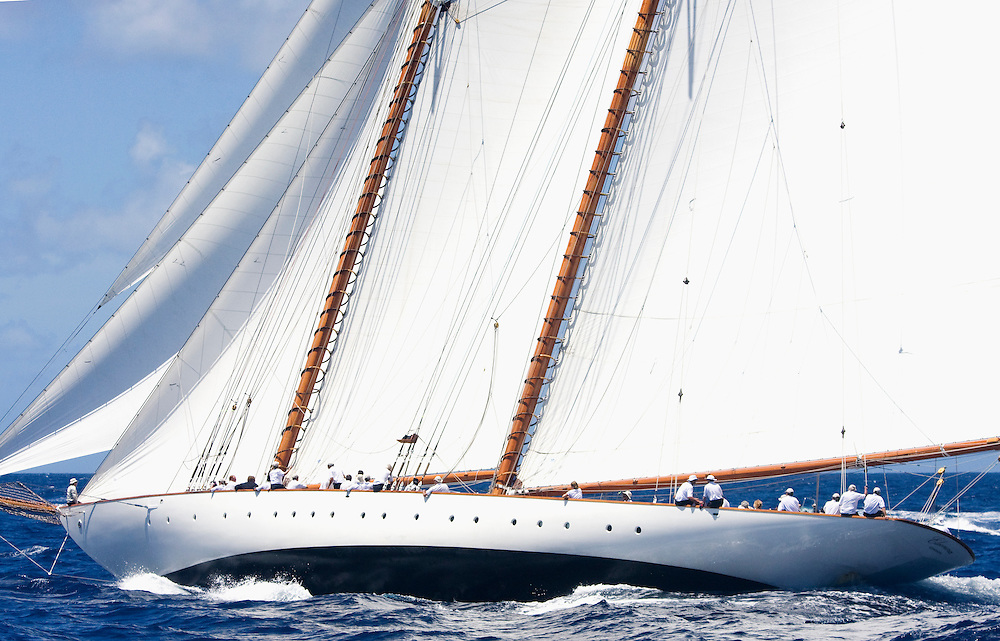The gaff rigged Schooner whose name is SY Eleanora during the 2008 Antigua Classic Yacht Regatta . This race is one of the worlds most prestigious traditional yacht races. It takes place annually off the costa of Antigua in the British West Indies.