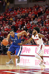 14 November 2016:  Bryson Scott(1) looks down the lane guarded by Keyshawn Evans(3) during an NCAA  mens basketball game between the Indiana Purdue Fort Wayne Mastodons the Illinois State Redbirds in Redbird Arena, Normal IL