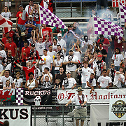 Orlando Ruckus members cheer during a United Soccer League Pro soccer match between the Wilmington Hammerheads and the Orlando City Lions at the Florida Citrus Bowl on June 18, 2011 in Orlando, Florida.  (AP Photo/Alex Menendez)