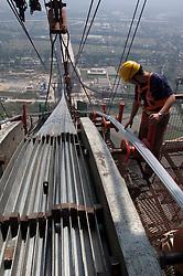 Inspecting suspension bridge saddle at Runyang Bridge in China currenly the longest bridge in China 2003