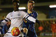 Seanan Mckillop closes down during the FA Youth Cup match between U18 AFC Wimbledon and U18 Chelsea at the Cherry Red Records Stadium, Kingston, England on 9 February 2016. Photo by Michael Hulf.