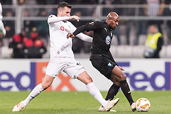 (L-R) Oguzhan Ozyakup of Besiktas JK, Fouad Bachirou of Malmo FF during the UEFA Europa League group I match between between Besiktas AS and Malmo FF at the Besiktas Park on December 13, 2018 in Istanbul, Turkey
