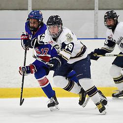 TORONTO, ON  - NOV 26,  2017: Ontario Junior Hockey League game between the Toronto Jr. Canadiens and the Toronto Patriots, Evan Benwell #19 of the Toronto Patriots and Artur Terchiyev #17 of the Toronto Jr. Canadiens pursue the play during the first period.<br /> (Photo by Andy Corneau / OJHL Images)