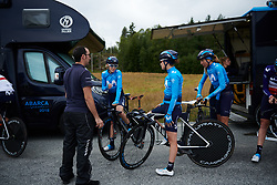 Alicia Gonzalez (ESP) and her Movistar Women's Team teammates prepare to check out the course at Ladies Tour of Norway 2018 Team Time Trial, a 24 km team time trial from Aremark to Halden, Norway on August 16, 2018. Photo by Sean Robinson/velofocus.com