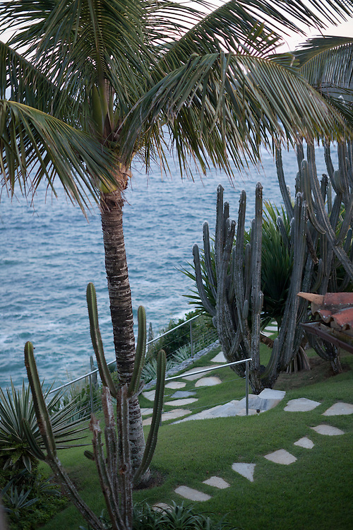 Garden and pathway with ocean views at the Cliffside Villa.