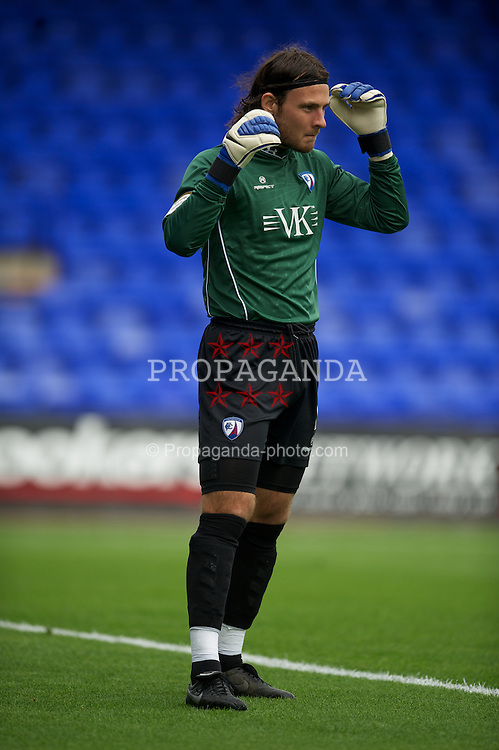 BIRKENHEAD, ENGLAND - Saturday, August 6, 2011: Chesterfield's goalkeeper Tommy Lee in action against Tranmere Rovers during the opening Football League One match at Prenton Park. (Photo by David Rawcliffe/Propaganda)