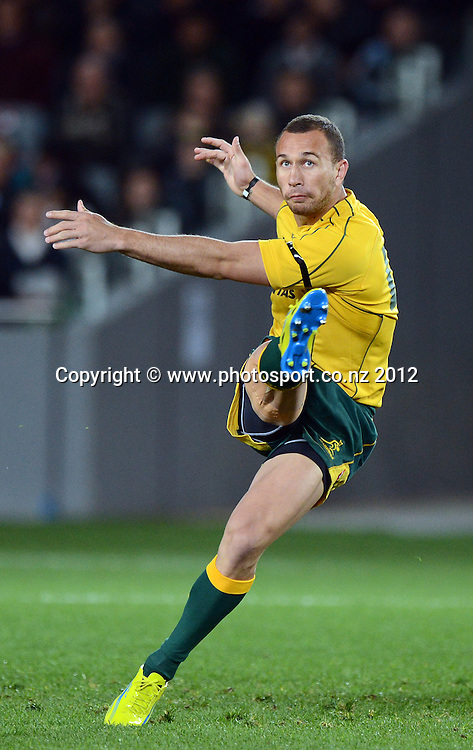 Quade Cooper during the Rugby Championship and Bledisloe Cup Rugby Union test match, New Zealand All Blacks versus Australian Wallabies at Eden Park, Auckland, New Zealand. Saturday 25 August 2012.  Photo: Andrew Cornaga/Photosport.co.nz