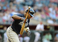 May 14, 2013; Phoenix, AZ, USA; Atlanta Braves outfielder Justin Upton (8) throws his bat after being walked in the first inning against the Arizona Diamondbacks at Chase Field. Mandatory Credit: Jennifer Stewart-USA TODAY Sports