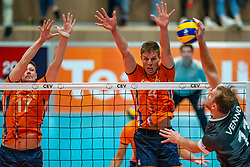 12-06-2019 NED: Golden League Netherlands - Estonia, Hoogeveen<br /> Fifth match poule B - The Netherlands win 3-0 from Estonia in the series of the group stage in the Golden European League / Michael Parkinson #17 of Netherlands, Thijs Ter Horst #4 of Netherlands, Oliver Venno #11 of Estonia