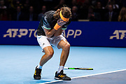 Stefanos Tsitsipas of Greece celebrates winning match point during the Nitto ATP finals at the O2 Arena, London, United Kingdom on 17 November 2019.