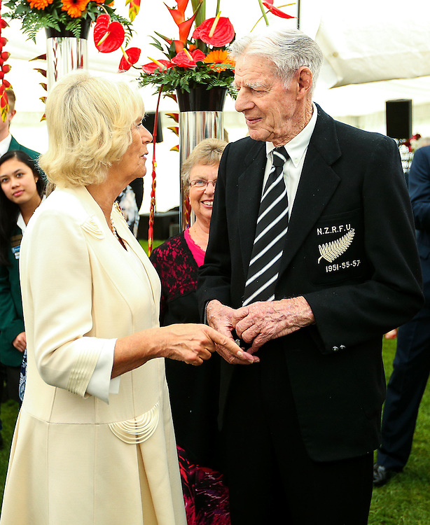Camilla, Duchess of Cornwall meets former All Black Peter Burke, 88, during the 'Tea With Taranaki' event at Brooklands Park, New Plymouth, New Zealand, New Zealand, Monday, November 09, 2015. Credit:SNPA / Getty, Hagen Hopkins  **POOL**