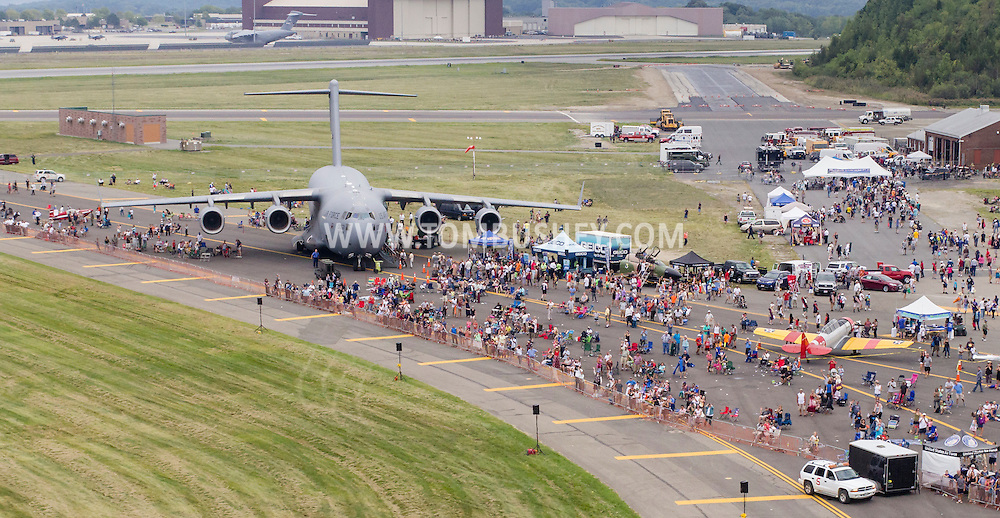 New Windsor, New York - An aerial view of planes and people on the runway during the second day of the New York Air Show at Stewart International Airport on Aug. 30, 2015.