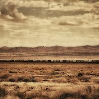 A train in the Mohave desert, Arizona, Usa