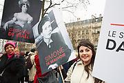 France, Paris, 8 March 2017. International women's day.  Hundreds of women gathered at Place de la République for the equality between men and women.