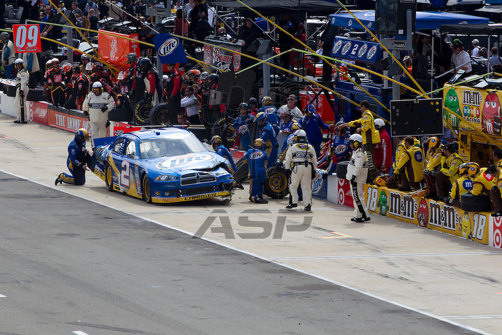 BRISTOL, TN - MAR 20, 2011:  Brad Keselowski (2) comes in for a pit stop during the Jeff Byrd 500 race at the Bristol Motor Speedway in Bristol, TN.