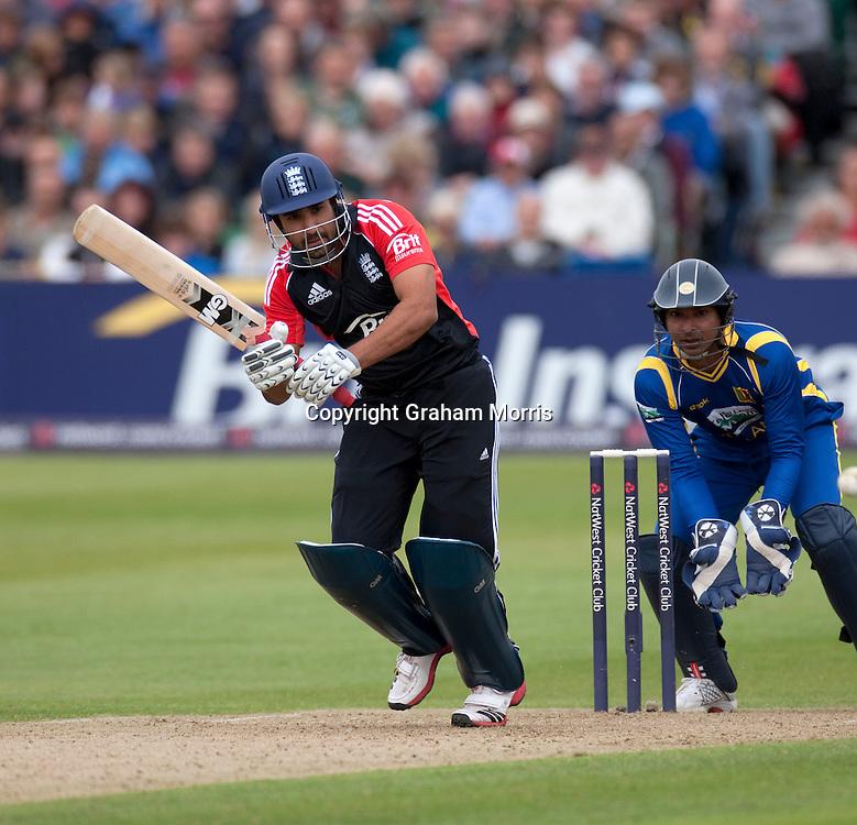 Ravi Bopara (plus wicket keeper Kumar Sangakkara) during the T20 international between England and Sri Lanka at Bristol.  Photo: Graham Morris/photosport.co.nz