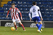 Stoke City U23's Midfielder, Daniel Jarvis (44) and Bury Defender, Eoghan O'Connell (6)  during the EFL Trophy match between Bury and U23 Stoke City at the JD Stadium, Bury, England on 8 November 2017. Photo by Mark Pollitt.