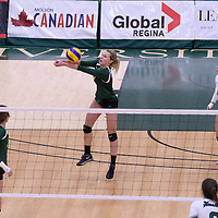 3rd year outside hitter Leah Sywanyk (3) of the Regina Cougars in action during Women's Volleyball home game on November 19 at Centre for Kinesiology, Health and Sport. Credit: Arthur Ward/Arthur Images