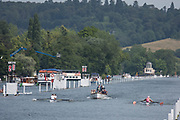 """Henley on Thames, United Kingdom, 4th July 2018, Wednesday, View, Heat of the """"Fawley Challenge Cup,  left, St Pauls School and right, """"Star and Arrow"""",  first day of the annual,  """"Henley Royal Regatta"""", Henley Reach, River Thames, Thames Valley, England, © Peter SPURRIER,"""