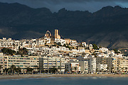 Altea Old quarter buildings with  Bernia mountain in background, Altea, Alicante, Spain, Europe