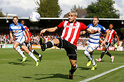 Brentford Forward Neal Maupay (9) looks to take the ball down during the EFL Sky Bet Championship match between Brentford and Reading at Griffin Park, London, England on 16 September 2017. Photo by Andy Walter.