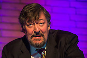 Stephen Fry gives the Sir Cameron Mackintosh Inaurgural Lecture 2014 at St Catherine's College, Oxford, UK 20 February 2014. Guy Bell, 07771 786236, guy@gbphotos.com