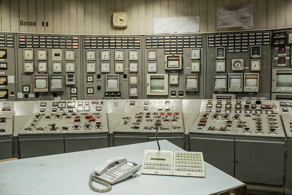 A control room at the Luhansk Power Station, a coal-fired power plant located only a few hundred meters from the front line, on Monday, February 8, 2016 in Shchastya, Ukraine. The plant has been shelled several times but continues to operate, providing electricity to both Ukrainian and rebel territories.