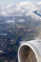 Arial view of irish landscape from Airplane