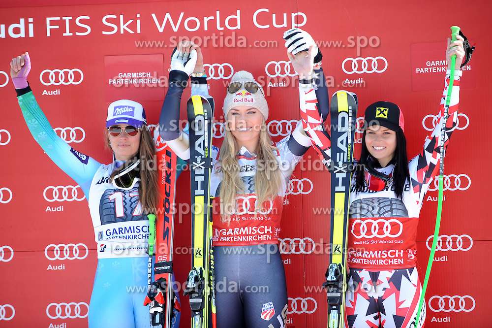 08.03.2015, Kandahar, Garmisch Partenkirchen, GER, FIS Weltcup Ski Alpin, Garmisch Partenkirchen, Super G, Damen, Siegerehrung, im Bild Tina Maze (SLO, 2. Platz), Lindsey Vonn (USA, 1. Platz), Anna Fenninger (AUT, 3. Platz) // second Placed Tina Maze of Slovenia ( L ), first placed Lindsey Vonn of the USA ( C ), third placed Anna Fenninger of Austria ( R ) during the winner ceremony ofthe ladie's SuperG of the FIS Ski Alpine World Cup at the Kandahar in Garmisch Partenkirchen, Germany on 2015/03/08. EXPA Pictures © 2015, PhotoCredit: EXPA/ Erich Spiess