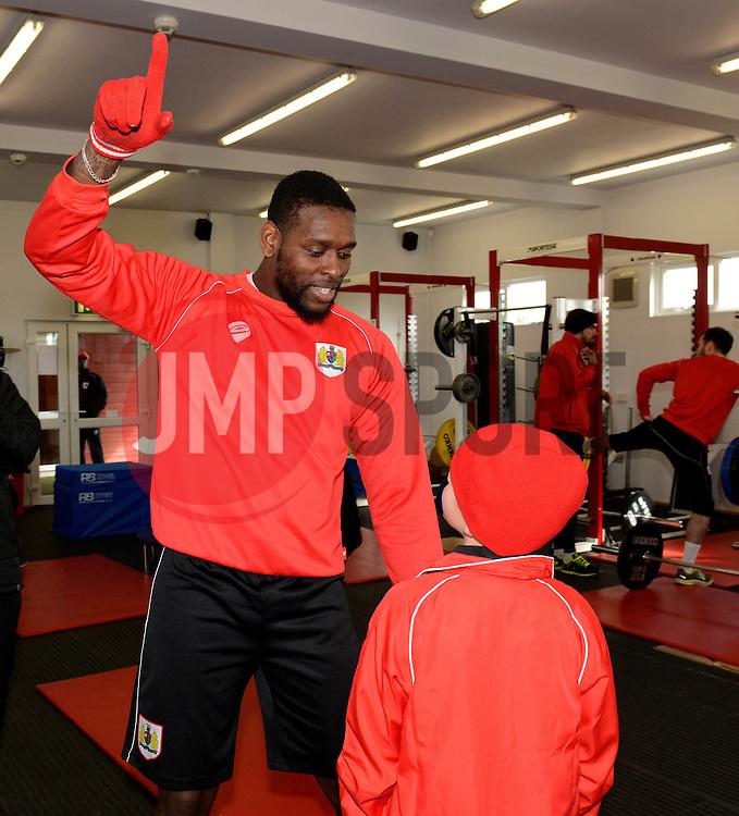 Connor speaks with Bristol City's Jay Emmanuel-Thomas - Photo mandatory by-line: Dougie Allward/JMP - Mobile: 07966 386802 - 01/04/2015 - SPORT - Football - Bristol - Bristol City Training Ground - HR Owen and SAM FM