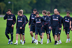 CARDIFF, WALES - Friday, September 5, 2008: Wales' players during training at Vale of Glamorgan Hotel ahead of the second 2010 FIFA World Cup South Africa Qualifying Group 4 match against Russia. L-R: Gareth Bale, Ched Evans, Owain Tudur Jones, Brian Stock, Sam Ricketts, Steven Evans.  (Photo by David Rawcliffe/Propaganda)