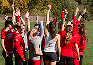 New York, New York - Runners from Cornell University huddle before the Ivy League Heptagonal women's<br />
