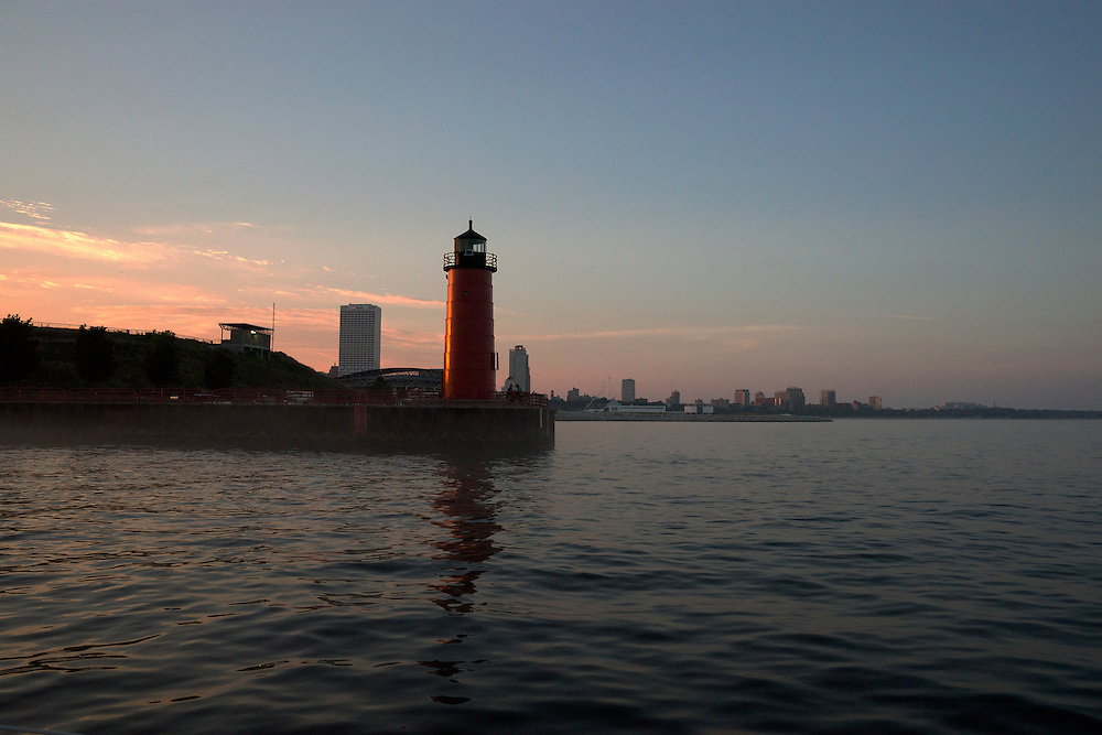 The Milwaukee Pierhead Lighthouse is located near the outflow of the Milwaukee River.  It is an active lighthouse used to aid in navigation.  It is a sister lighthouse to the Kenosha North Pier Light.