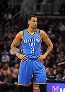 Jan. 14, 2013; Phoenix, AZ, USA; Oklahoma City Thunder guard Thabo Sefolosha (2) stands on the court during the game against the Phoenix Suns at the US Airways Center. The Thunder defeated the Suns 102-90. Mandatory Credit: Jennifer Stewart-USA TODAY Sports
