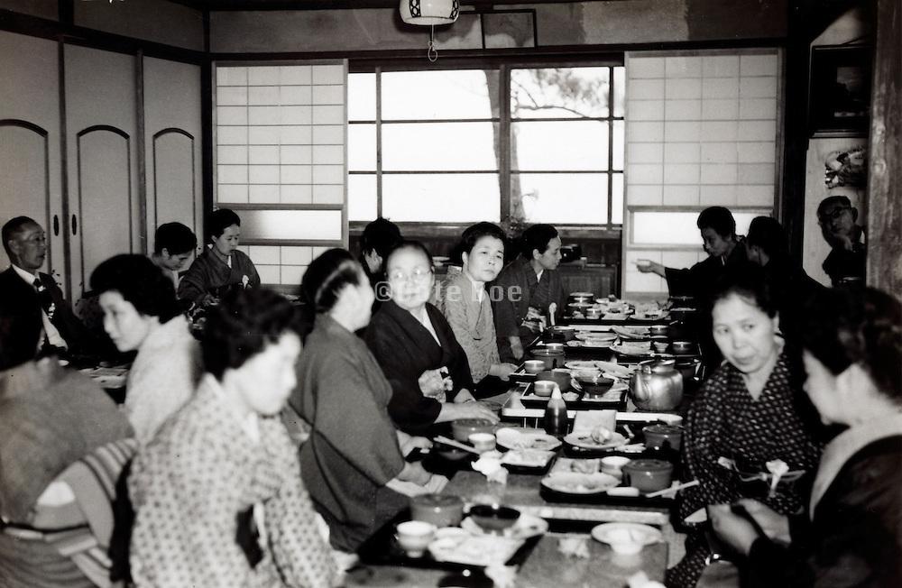 dining inside a traditonal Ryokan Japan 1960s
