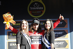March 10, 2017 - Montalto Di Castro, ITALY - Slovakian Peter Sagan of Bora-Hansgrohe celebrates on the podium of the third stage of the 51st edition of the Tirreno-Adriatico cycling race,204 km from Monterotondo Marittimo to Montalto di Castro, Italy, Friday 10 March 2017. ..BELGA PHOTO YUZURU SUNADA (Credit Image: © Yuzuru Sunada/Belga via ZUMA Press)