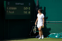 25.06.2011, Wimbledon, London, GBR, Wimbledon Tennis Championships, im Bild Francesca Schiavone (ITA) looks at the scoreboard in the 38th game with the score 6-3, 4-6, 9-8 during the Ladies' Singles 3rd Round match on day six of the Wimbledon Lawn Tennis Championships at the All England Lawn Tennis and Croquet Club, EXPA Pictures © 2011, PhotoCredit: EXPA/ Propaganda/ *** ATTENTION *** UK OUT!