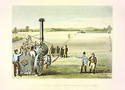 Cyrus McCormick's reaping machine of 1831 (patented 1834). Exhibited at Crystal Palace Exhibition of 1851. First widely adopted reaping machine. Hand-coloured engraving.