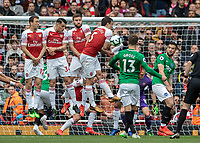 Football - 2018 / 2019 Premier League - Arsenal vs. Brighton & Hove Albion<br /> <br /> Sokratis Papastathopoulos (Arsenal FC) appears to block a Brighton shot with his arm at The Emirates.<br /> <br /> COLORSPORT/DANIEL BEARHAM