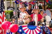 Young children wearing patriotic costume during the I'On neighborhood Independence Day parade July 4, 2015 in Mt Pleasant, South Carolina.