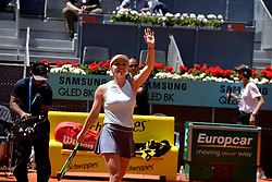 May 9, 2019 - Madrid, Spain - Simona Halep of Romania celebrates victory in her match against Ashleigh Barty of Australia during day six of the Mutua Madrid Open at La Caja Magica in Madrid on 9th May, 2019. (Credit Image: © Juan Carlos Lucas/NurPhoto via ZUMA Press)