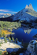 "Cathedral Peak reflects in Cathedral Lake, Yosemite National Park, California, USA. Cathedral Peak is the highest summit of the Cathedral Range, an offshoot of the Sierra Nevada Mountain in south-central Yosemite National Park in Tuolumne County. The sharp cathedral-shaped top of the peak was left uneroded as Pleistocene glaciers scraped its flanks smooth. The west peak (left side) of Cathedral Peak is called Eichorn Pinnacle, after Jules Eichorn, who first ascended a route (difficulty = YDS 5.4 ) in 1931. Published in ""Light Travel: Photography on the Go"" book by Tom Dempsey 2009, 2010."