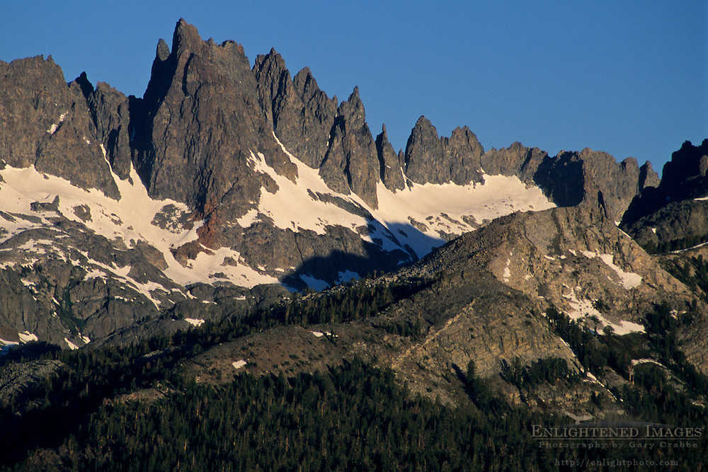 Morning light on the Minarets from Minaret Summit Mono County, Eastern Sierra, CALIFORNIA