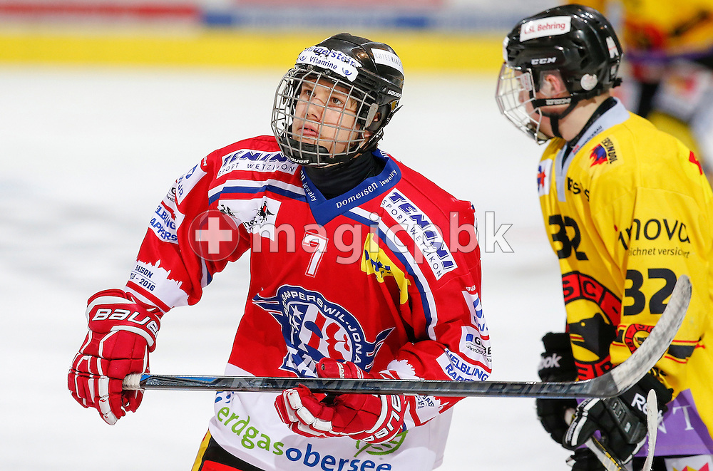 Rapperswil-Jona Lakers forward Roman MATHIS (L) is pictured during a Novizen Elite ice hockey game between Rapperswil-Jona Lakers and SC Bern Future held at the Diners Club Arena in Rapperswil, Switzerland, Saturday, Feb. 6, 2016. (Photo by Patrick B. Kraemer / MAGICPBK)