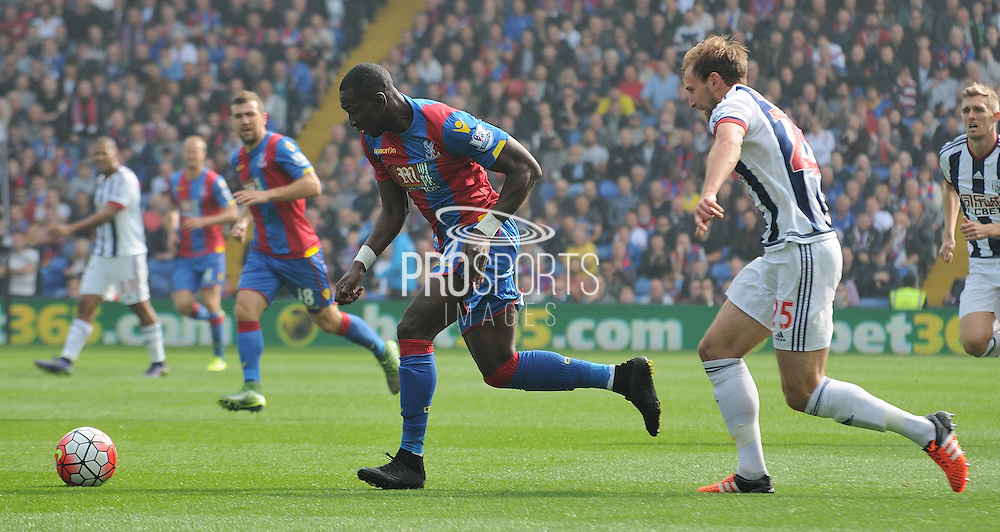 Yannick Bolasie charges forward during the Barclays Premier League match between Crystal Palace and West Bromwich Albion at Selhurst Park, London, England on 3 October 2015. Photo by Michael Hulf.
