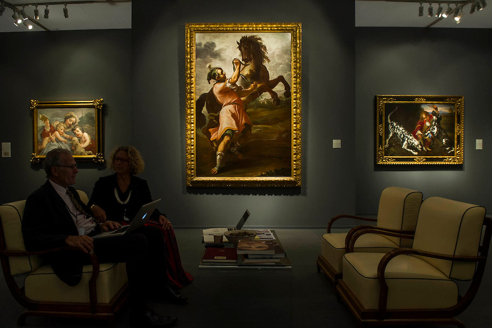 Work from the 17th century in the Jean-Luc Baroni Gallery - Frieze Masters 2014 - including a huge range of works from religious relics, through old masters to contemporary art with prices upto millions of pounds. Regents Park, London, 14 Oct 2014.