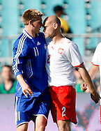 CHORZOW 01/06/2008.POLAND v DENMARK.INTERNATIONAL FRIENDLY.NICKLAS BENDTNER OF DENMARK AND MARIUSZ JOP OF POLAND ..FOT. PIOTR HAWALEJ / WROFOTO